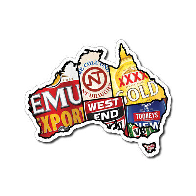 Aussie Beer Map Sticker / Decal - Beer Bar Mancave Emu Export Ute VB XXXX NT Pub
