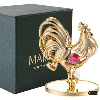 24K Gold Plated Crystal Studded Rooster Ornament with Red and Clear Crystals