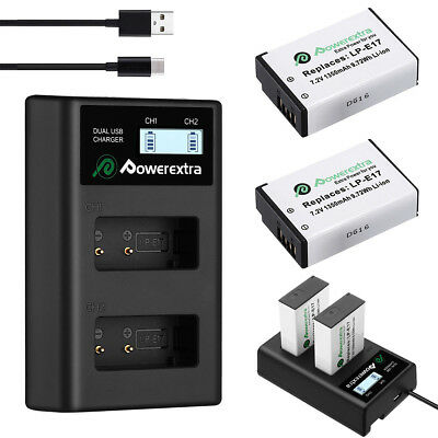 2x LP-E17 Battery + USB Charger For Canon EOS Rebel T6i T6s M3 750D 760D SL2