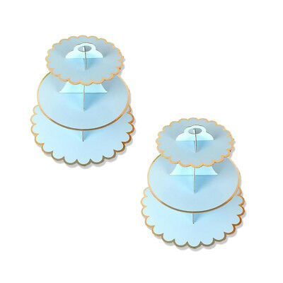 2Pc Paper 3 Tier Foldable Cupcake Cake Stand Blue Food Party Wedding Decorating