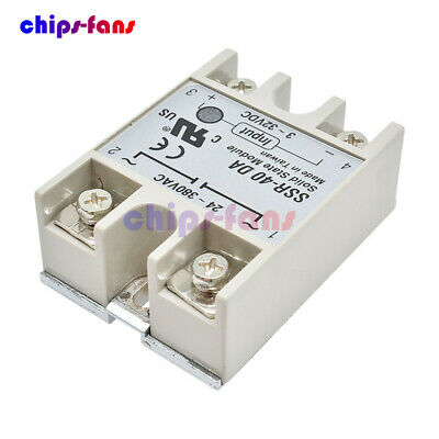 24V-380V 40A 250V SSR-40DA 3-32V DC To AC Solid State Relay Module For Arduino