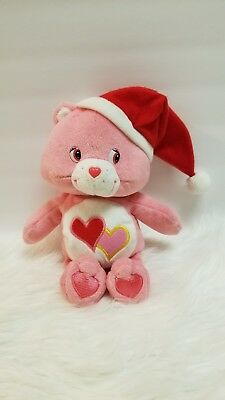 """Care Bears 10"""" Love A Lot Bear With Christmas Hat Musical Plush"""