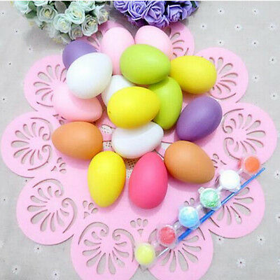 6X Plastic Easter Eggs DIY Painting Eggs Toy Gifts Ornament Easter Party Decor F