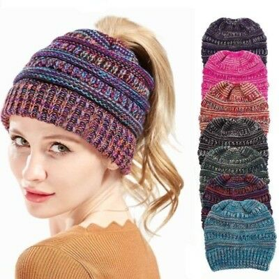 Women's Ponytail Beanie Knitted Thick Soft Stretchy Hat Warm Winter Girls Lady A