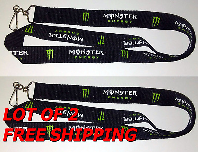 "LOT OF 2 NEW Monster Energy Lanyard Black Claw 17"" for ID Badges Cell Key Chain"