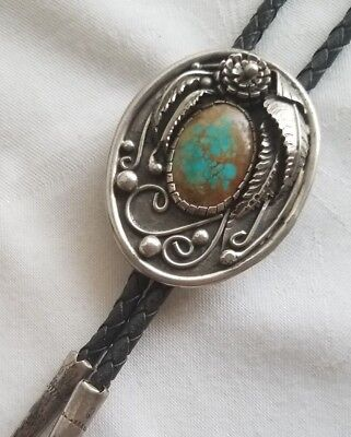 Vintage Navajo Sterling Silver ROYSTON Turquoise Ornate Bolo Fancy Tips Old Pawn