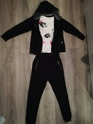 **boys next black cotton tracksuit with short sleeved Dino T shirt age 9 yrs**