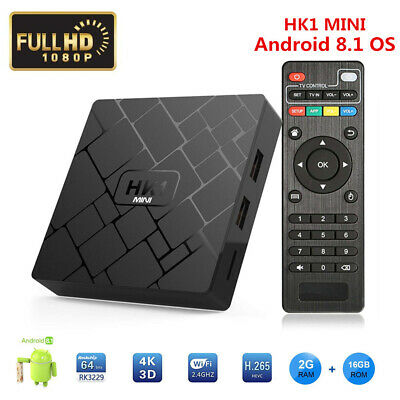 HK1mini Android 8.1 2GB+16GB WIFI 2.4G Quad Core RK3329 Smart TV BOX 3D HD
