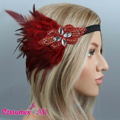 1920s Headband Red Feather Bridal Great Gatsby 20s Gangster Flapper Headpiece