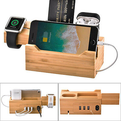Bamboo Wood Charger Mutil Charging Dock Station for iPhone Apple Watch Airpod