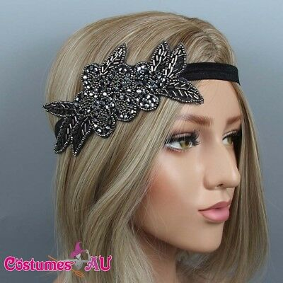 1920s Headband Black Bridal Great Gatsby 20s Gangster Flapper Headpiece