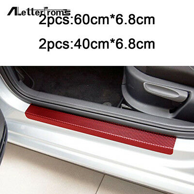 4*Car 3D Door Sill Scuff Welcome Pedal Protect Carbon Fiber Stickers Accessories