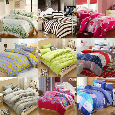 Bedroom Single Double King Duvet Quilts Cover Pillowcases Bedding Set