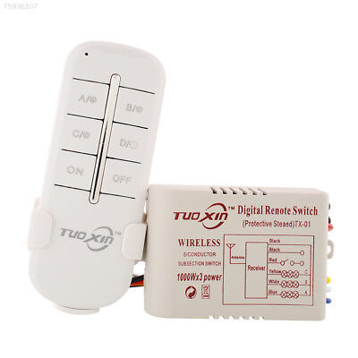 818C 220V 3 Way Channels Wireless Home Garage Wall Switch Splitter Remote Contro
