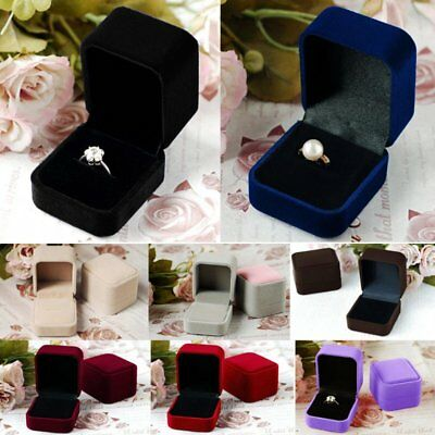 Charm Square Velvet Display Gift Box Case Lady Jewelry Earrings Necklace Ring