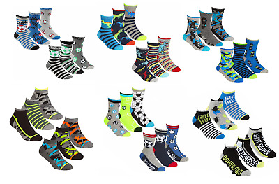 Boys Kids Ankle High Socks Pack of 3 Cotton Rich Value Pack Age 2-12 Years