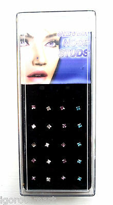 Boxed 20x Crystal CZ Gem Nose Ring Stud Sterling Silver Piercing Jewelry To Bend