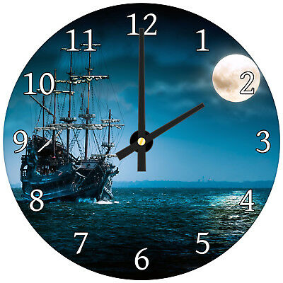 Blue Ship Moonlight Vintage Modern Scenic Glass Large Kitchen Bedroom Wall Clock