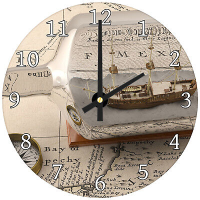 Vintage Map Ship Bottle Modern Scenic Glass Large Kitchen Bedroom Wall Clock
