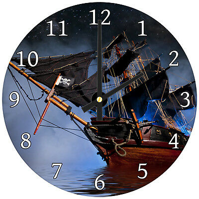 Vintage Blue Black Ship Modern Scenic Glass Large Kitchen Bedroom Wall Clock