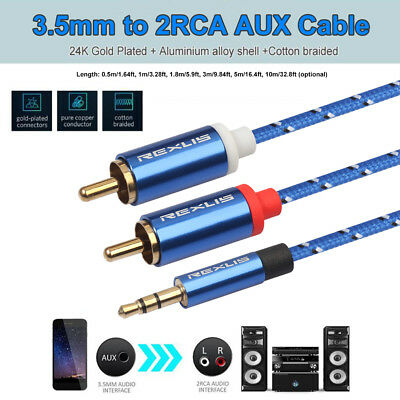 3.5mm Male Jack to 2 RCA Male AUX Stereo Analog Audio Y Adapter Cable Cord FR