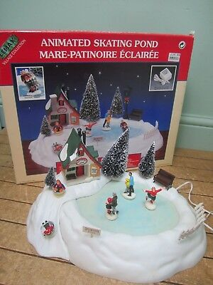 1995 Lemax Village Collection Animated Ice Skating Pond 54106 Working Used Y32