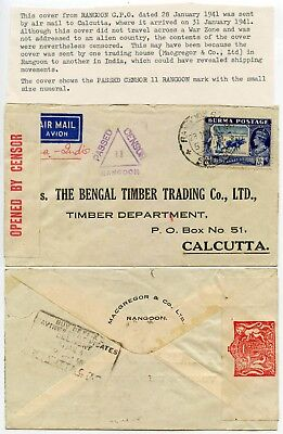 BURMA WW2 CENSORED AIRMAIL PRINTED ENV MACGREGOR + CO TRIANGLE HS 1941 3A 6p