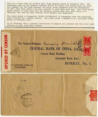 BURMA WW2 CENSORED SURFACE as AIRMAIL SUSPENDED 1942 C20 HS 2 x 2A PRINTED ENV