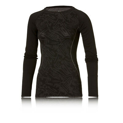 Asics Womens Black Seamless Long Sleeve Crew Neck Running Gym Sports Top