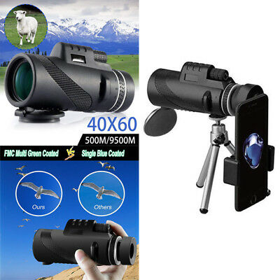 US 40x60 High Power Monocular Telescope BAK4 Prism Waterproof with Tripod Camera