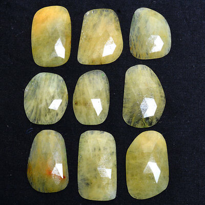 200 Ct/ 9 Pcs Natural Rare Yellow Beryl Beautiful Checker Cut Huge Gemstones ~