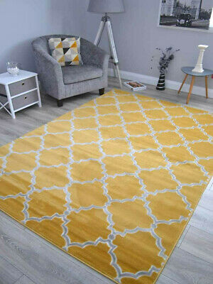 Ochre Gold And Silver Grey Modern Small Extra Large Floor Carpet Mat Rug Cheap