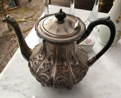 Victorian large Tea Pot Silver Plated Engraved Flower on Copper