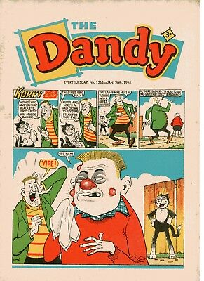 Dandy Comic # 1365 January 20th 1968 Korky The Cat Desperate Dan