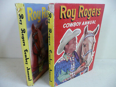Vintage Collectable ROY ROGERS COWBOY ANNUALS x 2. Hardcovers. 1950's. (S3)