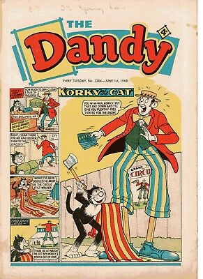 Dandy Comic # 1384 June 1st 1968 Korky The Cat Desperate Dan