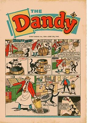 Dandy Comic # 1386 June 15th 1968 Korky The Cat Desperate Dan