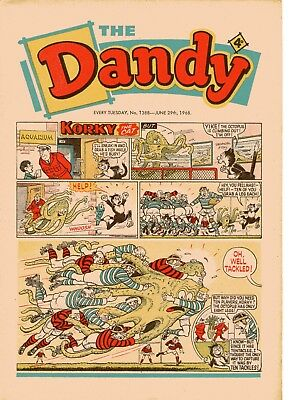 Dandy Comic # 1388 June 29th 1968 Korky The Cat Desperate Dan