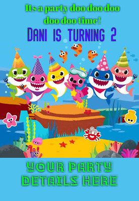 BABY SHARK Doo PERSONALISED BIRTHDAY INVITATION
