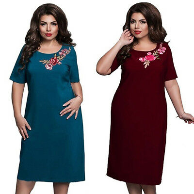 Evening Party Round Neck Dress Summer Plus Size Flower Embroidery Women Dress CB