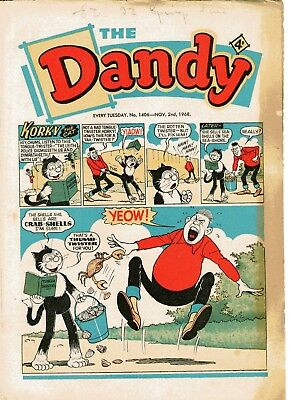 Dandy Comic # 1406 November 2nd 1968 Korky The Cat Desperate Dan