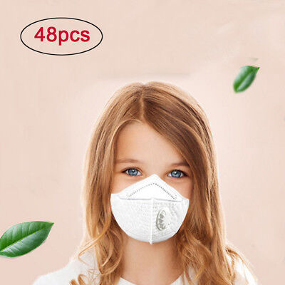 48PC Face Masks N95 Particulate Respirator Masks with Valve Kids PM2.5 Dust Mask