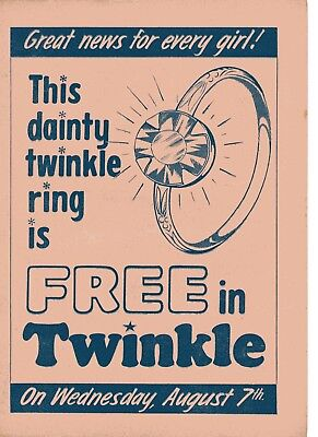 Twinkle Comic Pink Flyer August 7th 1968 Scarce