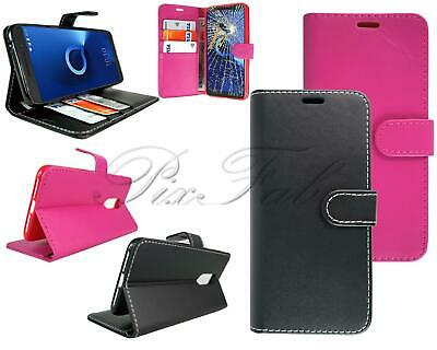 For Alcatel 3 5052Y New Stylish Black Leather Wallet Phone Case + Screen Glass
