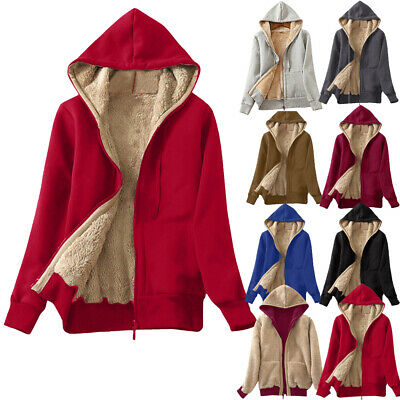 Ladies Fur Lining Coat Womens Winter Warm Thick Long Jacket Hooded Parka 2018 US