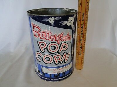 Vintage  Butterflake  Popcorn Tin Can/Container General Store Advertising