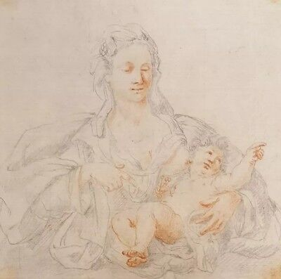 Superb 17th. Or 18th.Century Old Master Drawing Madonna Child Italian Provenance