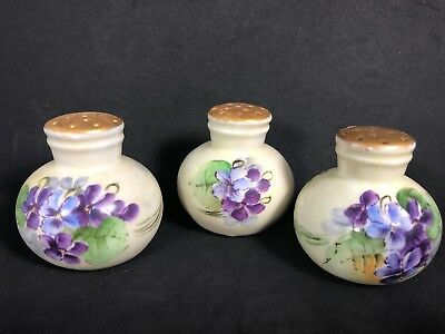 3 Individual Salt Shakers Hand Painted Violets With Gold Tops EUC 13F