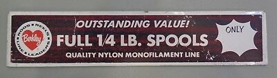 "Vintage Berkley Monofilament Fishing Line Tin Metal Store Sign 19"" X 4"" Outdoors"
