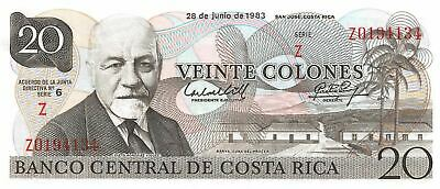 Costa Rica / Tyvek  20 Colones  28.6.1983 P 252a  Series Z Uncirculated Banknote